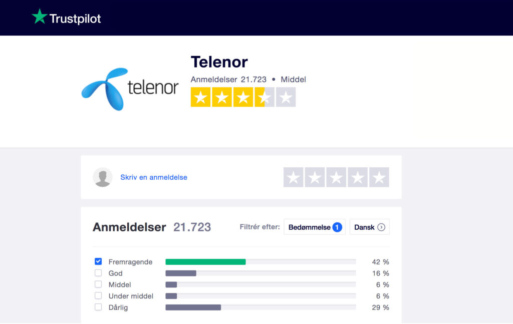 Anmeldelser af Telenor trustpilot
